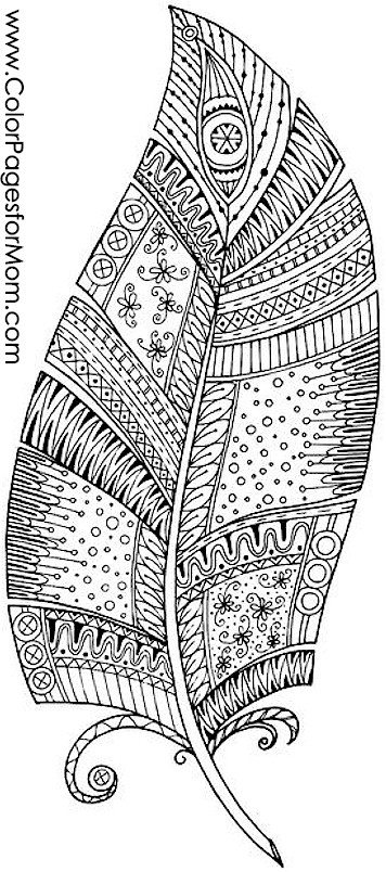 Coloring pages for adults Feathers